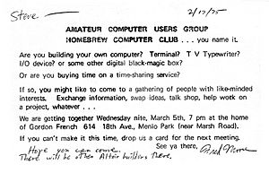 Invitation to First Homebrew Computer Club meeting