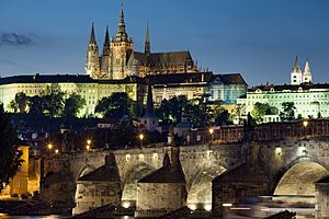 Night view of the Castle and Charles Bridge, Prague - 8034