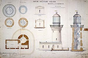 South Solitary Island Light, design for lighthouse, 1878