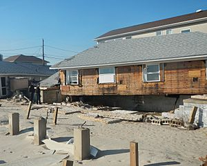 B217 beach houses shoved off piers Sandy jeh