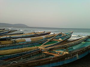 Boats at Bhimili beach in Visakhapatnam