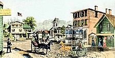 Historical postcard of Hotel Square in Port Jefferson