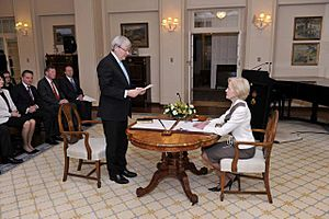 Kevin Rudd being sworn in as Prime Minister on 27 June 2013