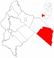 Pittsgrove Township highlighted in Salem County. Inset map: Salem County highlighted in the State of New Jersey.