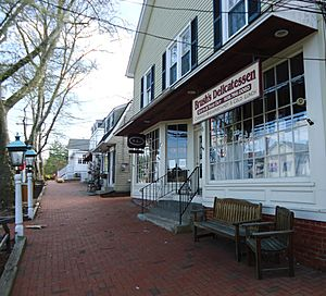 Shops and sidewalk and lamps in Basking Ridge New Jersey