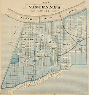 Vincennes, Indiana map from 1876 atlas