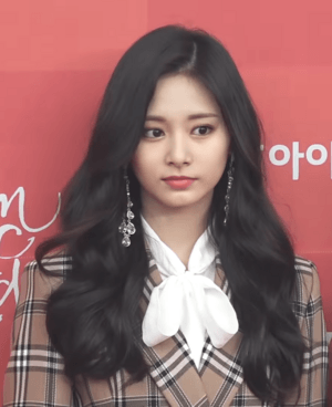 Tzuyu in plaid against red backdrop