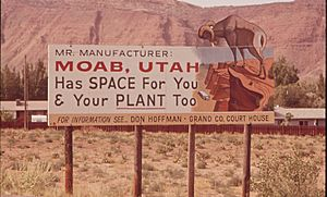 County-sponsored sign promoting manufacturing in Moab during the early 1970s