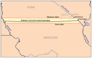 Map showing Des Moines Rapids in relation to the Sullivan Line which was subject of the Honey War.