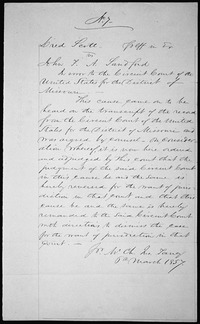Judgment in the U.S. Supreme Court Case Dred Scott v. John F. A. Sandford - NARA - 301674
