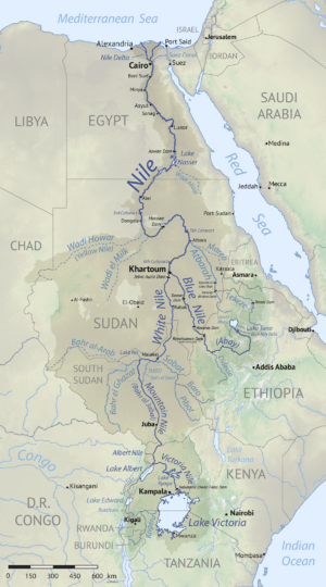 Nile basin map