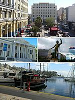 Clockwise: Piraeus station, a statue of Poseidon, Mikrolimano and Piraeus Municipal Theatre