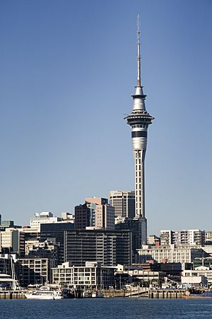 Waitemata Harbour, Ferry dock and the Skytower, Auckland - 0206