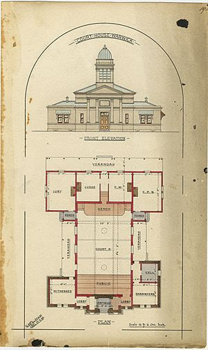 Architectural drawing of the Court House, Warwick, 29 August 1885