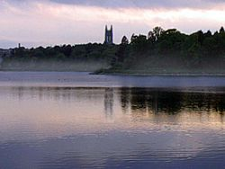 The Chestnut Hill Reservoir is located in the Brighton neighborhood. (Boston College can be seen in the background).
