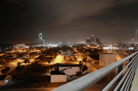 Night photo of Downtown Corpus Christi from the Harbor Bridge