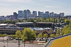 Downtown Bellevue and Lake Bellevue from Spring District, Aug 2017.jpg