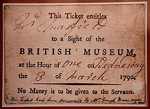 Entrance ticket to the British Museum, London March 3, 1790