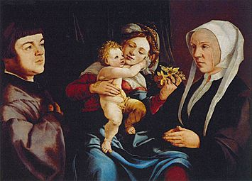 Jan van Scorel - Madonna of the Daffodils with the Child and Donors - WGA21080