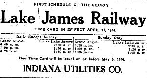 Railway schedule from Fort Wayne Journal-Gazette April 13 1914 page 14