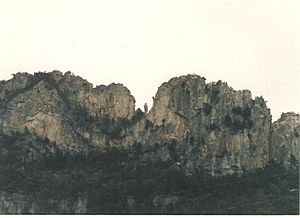 """The Gendarme"" at Seneca Rocks 1985"