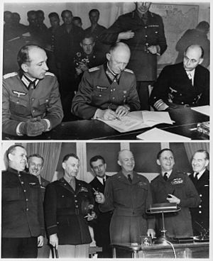 (Top) - German officers sign unconditional surrender in Reims, France. (Bottom) - Allied force leaders at the signing. - NARA - 195337
