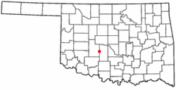 Location of Verden, Oklahoma