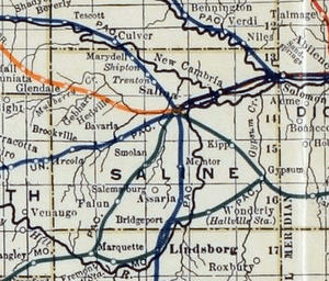 Stouffer's Railroad Map of Kansas 1915-1918 Saline County