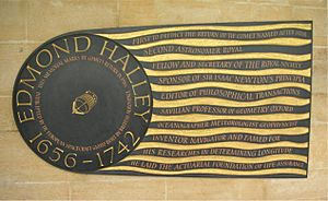 Edmond Halley plaque in Westminster Abbey