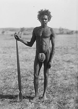 Man with a spear-thrower, photograph by H. Basedow
