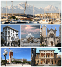 Clockwise, from top: Port of Pescara and Gran Sasso d'Italia, Church of the Sacred Heart, Aurum Museum, Palazzo di Città, Palazzo Imperato and Fountain La Nave