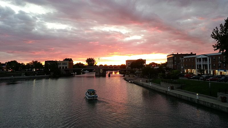 Sunset over the Erie Canal in North Tonawanda, NY.