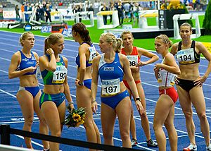 100 metres race winner Sina Schielke (192) and the other Runners - ISTAF 2006 - Berlin, 3 September
