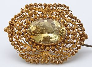 Citrine cannetille work brooch