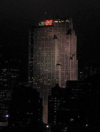 GE Building at night