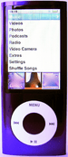 Purple iPod Nano 5G with camera, front and back views
