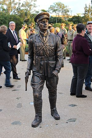 Life-sized bronze statue Lieutenant Duncan Chapman, first man ashore at Gallipoli on 25 April 1915