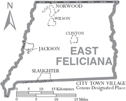 Map of East Feliciana Parish Louisiana With Municipal Labels