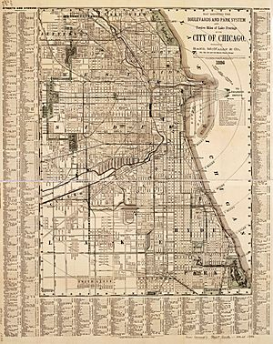 1886 Chicago map by Rand McNally