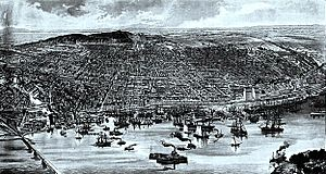 Bird's eye view of Montreal 1889