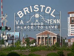A sign welcomes visitors to the twin cities of Bristol, Virginia, and Bristol, Tennessee.