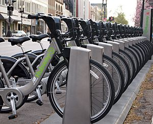 Hubway bikes at rack