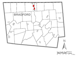 Map of Bradford County with Athens highlighted