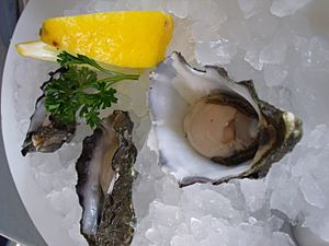 Oysters served on ice, with lemon and parsley