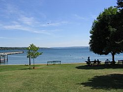 Skaneateles Lake seen from the village of Skaneateles, Onondaga County, New York