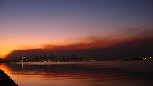 San Diego skyline against smoke from wildfires Oct 2007