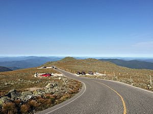 2016-09-03 16 54 02 View eastbound down the Mount Washington Auto Road at about mile 6.7 (about 5760 feet above sea level) in Thompson and Meserve's Purchase Township, Coos County, New Hampshire