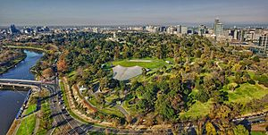 Aerial perspective of the Sidney Myer Bowl