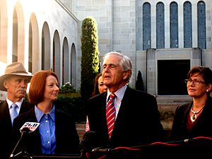 Julia Gillard Steve Gower and other politicians at the AWM.jpg