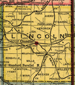 1905 map of Lincoln county showing the location of Rossville